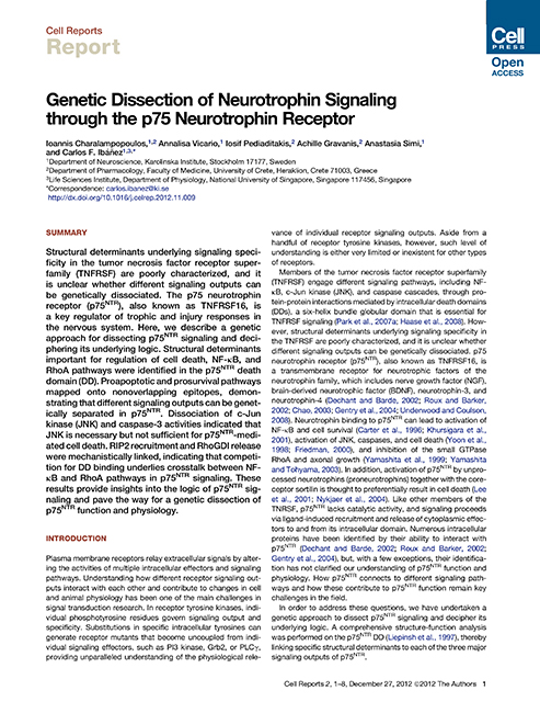 Genetic dissection of p75ntr signaling