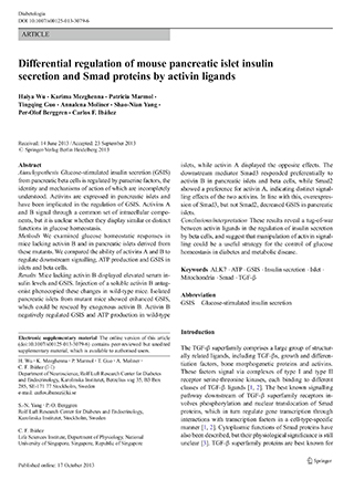 Regulation of insulin secretion by Smads and activins